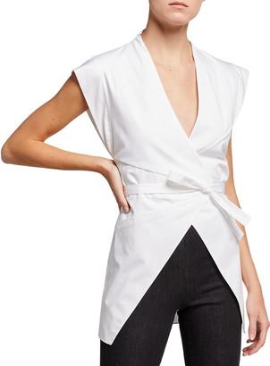 Safiyaa V-Neck Wrap Belted Blouse