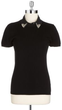 Adrianna Papell Knit Top With Beaded Collar