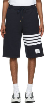 Thom Browne Navy Loopback 4-Bar Sweat Shorts