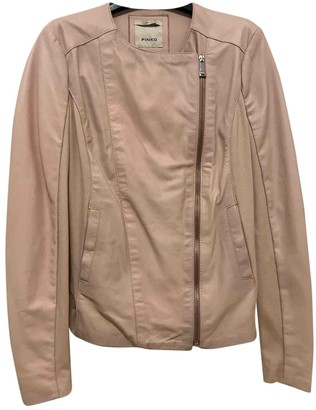 Pinko Pink Leather Leather Jacket for Women