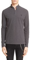 The Kooples Men's Pipe Trim Long Sleeve Band Collar Polo