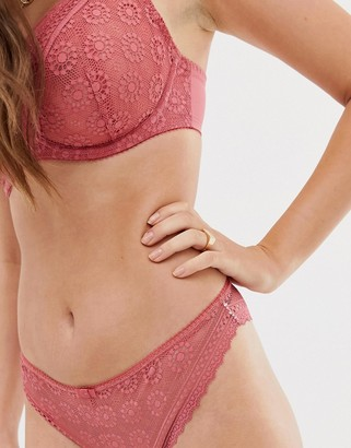Freya Love Note lace brazilian underwear in pink