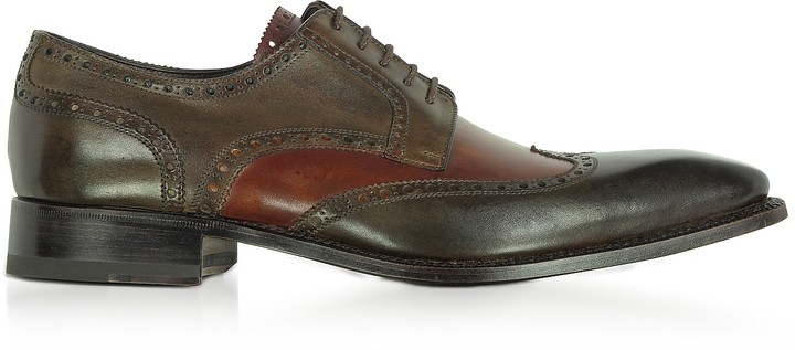 Forzieri Two-Tone Italian Handcrafted Leather Wingtip Oxford Shoes