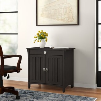 Three Posts Salina Secretary Desk Color: Vintage Black