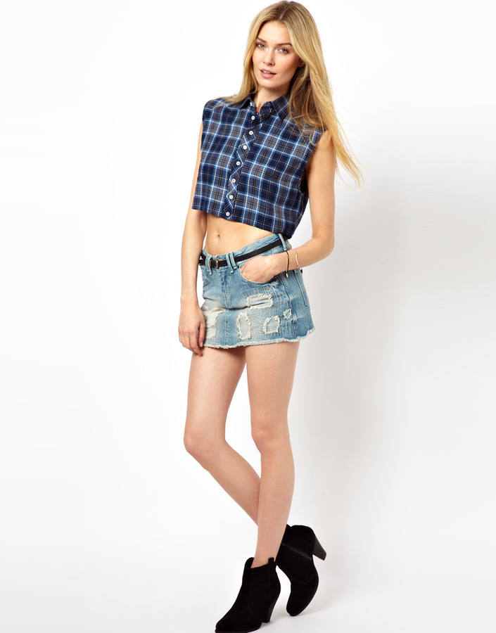 Pepe Jeans Denim Mini Skirt With Rips