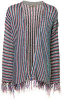 Nuur striped frayed cardigan