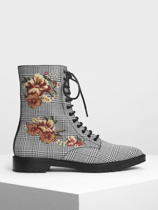 Charles & Keith Floral Embroidery Pointed Toe Calf Boots