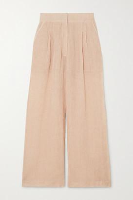 Le Kasha Sohag Linen Wide-leg Pants - Peach