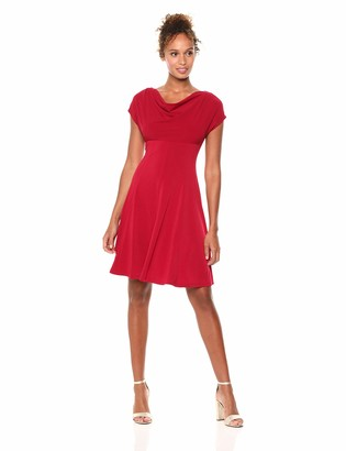 London Times Women's Short Sleeve Cowl Neck Crepe FIT & Flare Dress