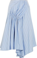 J.W.Anderson Asymmetric Striped Silk Crepe De Chine Skirt - Sky blue