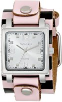 Nemesis Women's CHBPK516S Lite SQ Collection Checkered Pink/Black Leather Band Watch