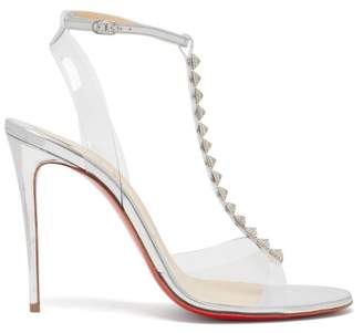 Christian Louboutin Jamais 100 Studded Mirrored-leather Sandals - Womens - Silver