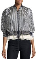 Moncler Istres Striped Embroidered Bomber Jacket