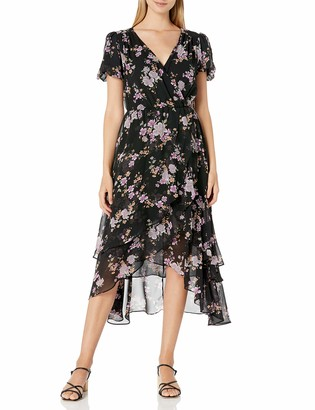Betsey Johnson Women's Floral Chiffon Puff Sleeve Faux Wrap Midi Dress