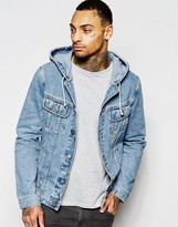 Asos Denim Jacket With Hood in Mid Wash