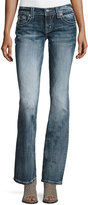Miss Me Faded Slim Boot-Cut Jeans, Medium Blue