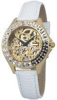 Burgmeister Merida Women's Automatic Watch with Gold Dial Analogue Display and White Leather Strap BM520-206