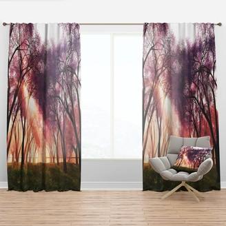 Design Art Designart 'Cherry Blossoms Japan Garden' Landscape Curtain Panel