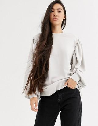 Weekday Charlee balloon sleeve sweatshirt in off white
