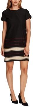 Vince Camuto Linear Plains Border-Print Sheath Dress