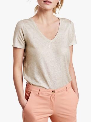 Pure Collection Linen Jersey Vest, Neutral/Gold