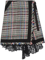 Sacai Corded Lace And Twill-trimmed Tweed Wrap-effect Skirt - Black