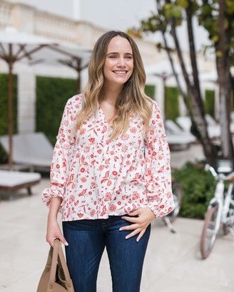The Drop Women's Ivory Floral Print V-Neck Balloon-Sleeve Top by @graceatwood XXS
