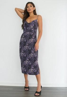 Missguided Black Floral Cami Cowl Midi Dress