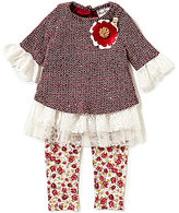Rare Editions Baby Girls 3-24 Months Lace-Knit Top & Printed Leggings Set