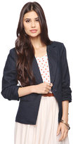 Forever 21 Ruched 3/4 Sleeve Linen Blazer