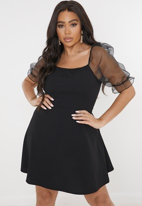 Missguided Plus Size Black Organza Sleeve Skater Dress