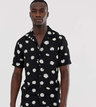 Asos Design DESIGN Tall regular fit daisy print shirt with revere collar-Black