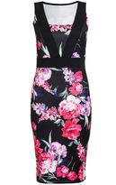 Quiz Black Floral Print Midi Dress