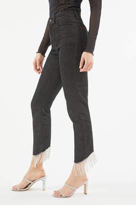 BDG High-Waisted Cropped Slim Straight Jean Diamante Hem