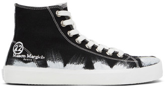 Maison Margiela Black and White Vandal Tabi High-Top Sneakers