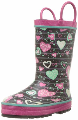 Western Chief Girl's Waterproof Printed Lined Rain Boot with Easy Pull On Handles