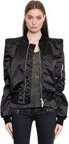 Unravel Padded Shoulder Nylon Bomber Jacket