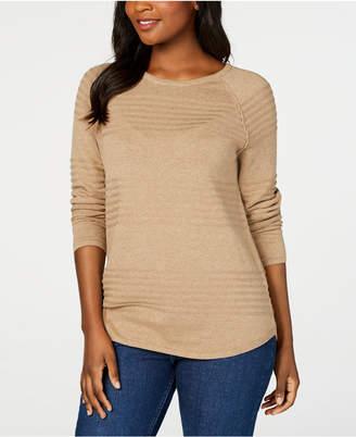 Karen Scott Petite Cotton Ribbed Sweater