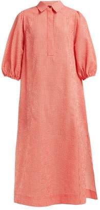 Ganni Gingham Slit Hem Seersucker Shirtdress - Womens - Red White