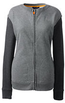 Lands' End Women's Long Sleeve French Terry Track Jacket-Pewter Heather