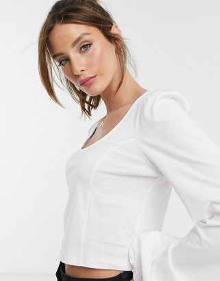 Asos Design DESIGN fitted top with scoop neck