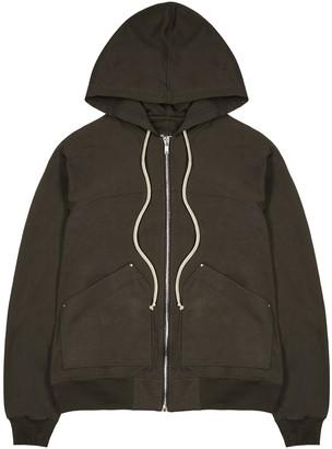 Rick Owens Dark Brown Hooded Cotton Sweatshirt