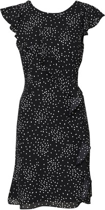 Wallis Black Polka Dot Frill Fit and Flare Dress