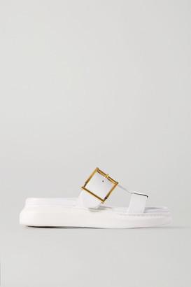 Alexander McQueen Buckled Leather Platform Slides - White