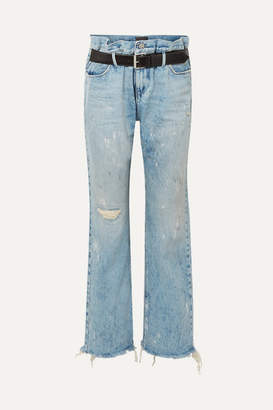 RtA Dexter Belted Distressed High-rise Straight-leg Jeans - Light denim