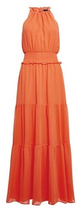 Dorothy Perkins Womens Coral Halter Neck Shirred Maxi Dress, Coral