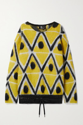 MONCLER GENIUS 3 Moncler Grenoble Oversized Shell-trimmed Jacquard-knit Mohair-blend Sweater - Yellow