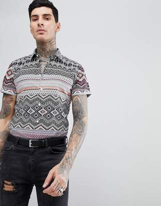 Devils Advocate Devil's Advocate Short Sleeve Slim Fit Tribal Print Shirt-Red
