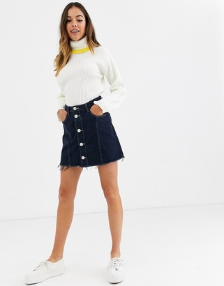 Glamorous button down denim mini skirt with raw hem