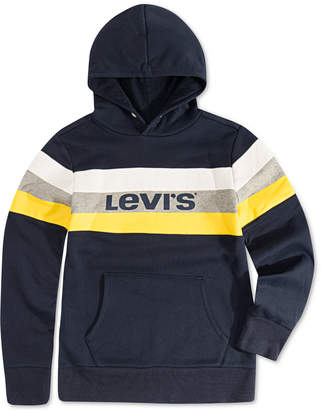 Levi's Big Boys Colorblocked Stripe Fleece Logo Hoodie